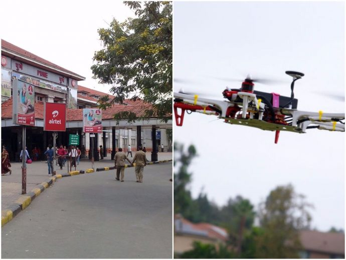 Pune, Pune Railway Division, Drone surveillance, First in the country to have this surveillance technique