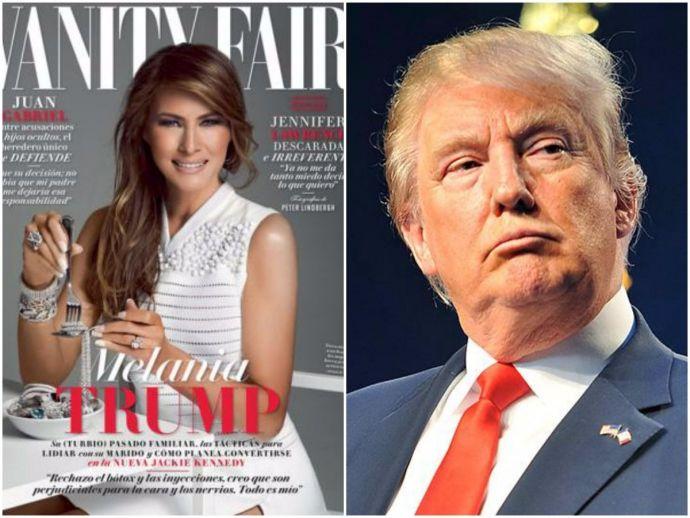 melania trump, vanity fair, mexico, magazine, cover, diamonds, donald trump