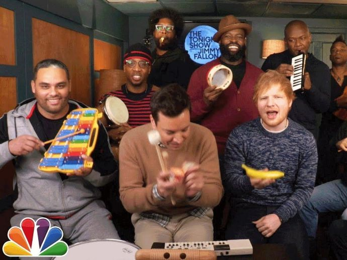 Ed Sheeran, Jimmy Fallon, The Tonight Show, The Roots, Shape Of You