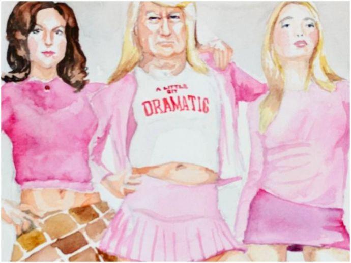 trump, usa, 45th president, pop culture, iconic villains, donald trump, jake kahana, instagram, watercolor paintings