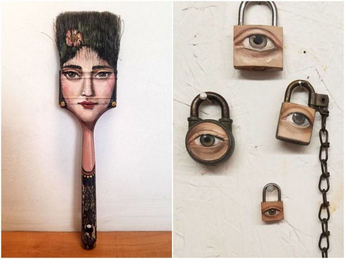 art, surreal, surrealism, alexandra dillon, los angeles, usa, artist, surrealist, discarded objects, best from waste, faces, characters, instagram, portraits, old things, canvas, paint brushes, locks, axes, knives
