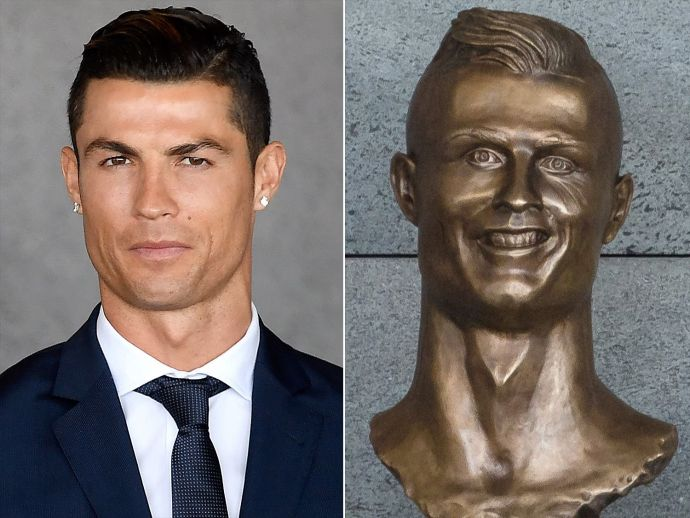 cristiano ronaldo, madeira, statue, bust, fail, airport, funchal, portugal, real madrid, memes, funny, footballer, soccer, Tweets On Cristiano Ronaldo, Cristiano Ronaldo Statue, Creepy Cristiano Ronaldo Statue