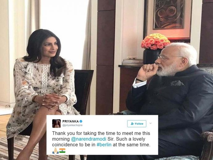 Priyanka Chopra, Prime Minister, Berlin, Germany, Modi, baywatch, bollywood, narendra modi, france, russia, spain, Priyanka Meets Modi, Priyanka And Modi In Berlin, PeeCee Meets Narendra Modi
