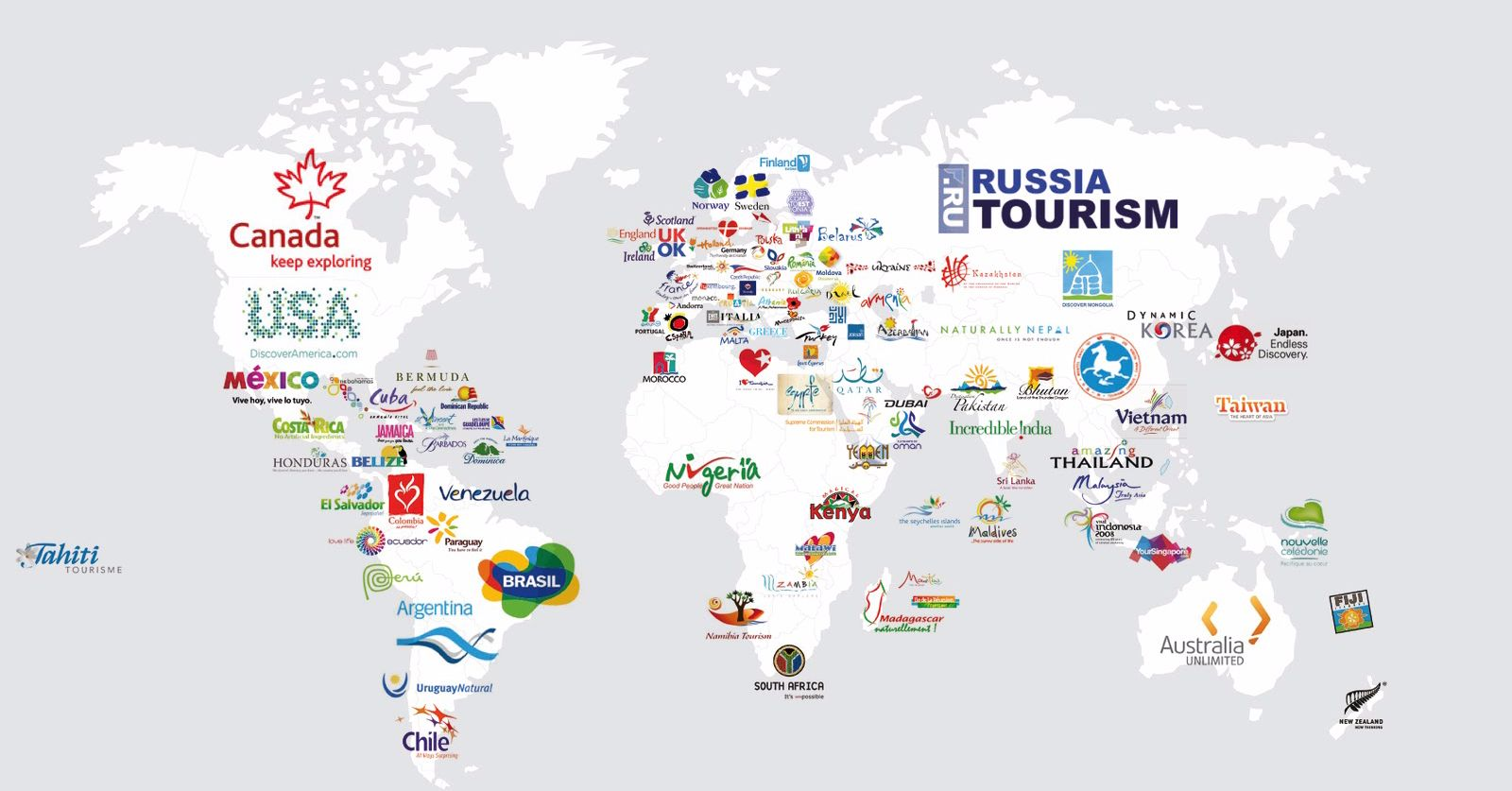The Map Which Displays Every Country's Tourism Slogans Is Totally Spot On!