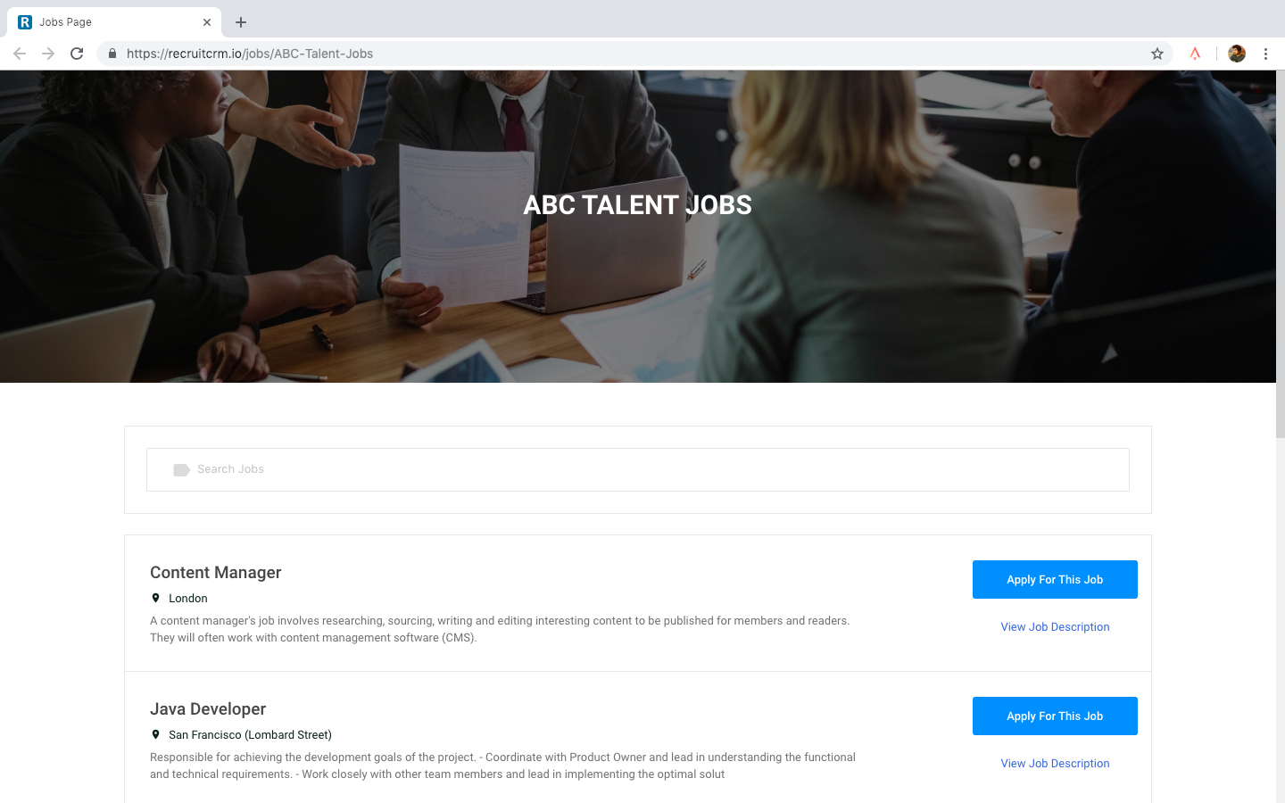 jobs page by Recruit CRM