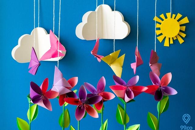 7 Cara Membuat Hiasan Dinding Dari Kertas Origami Yang Indah