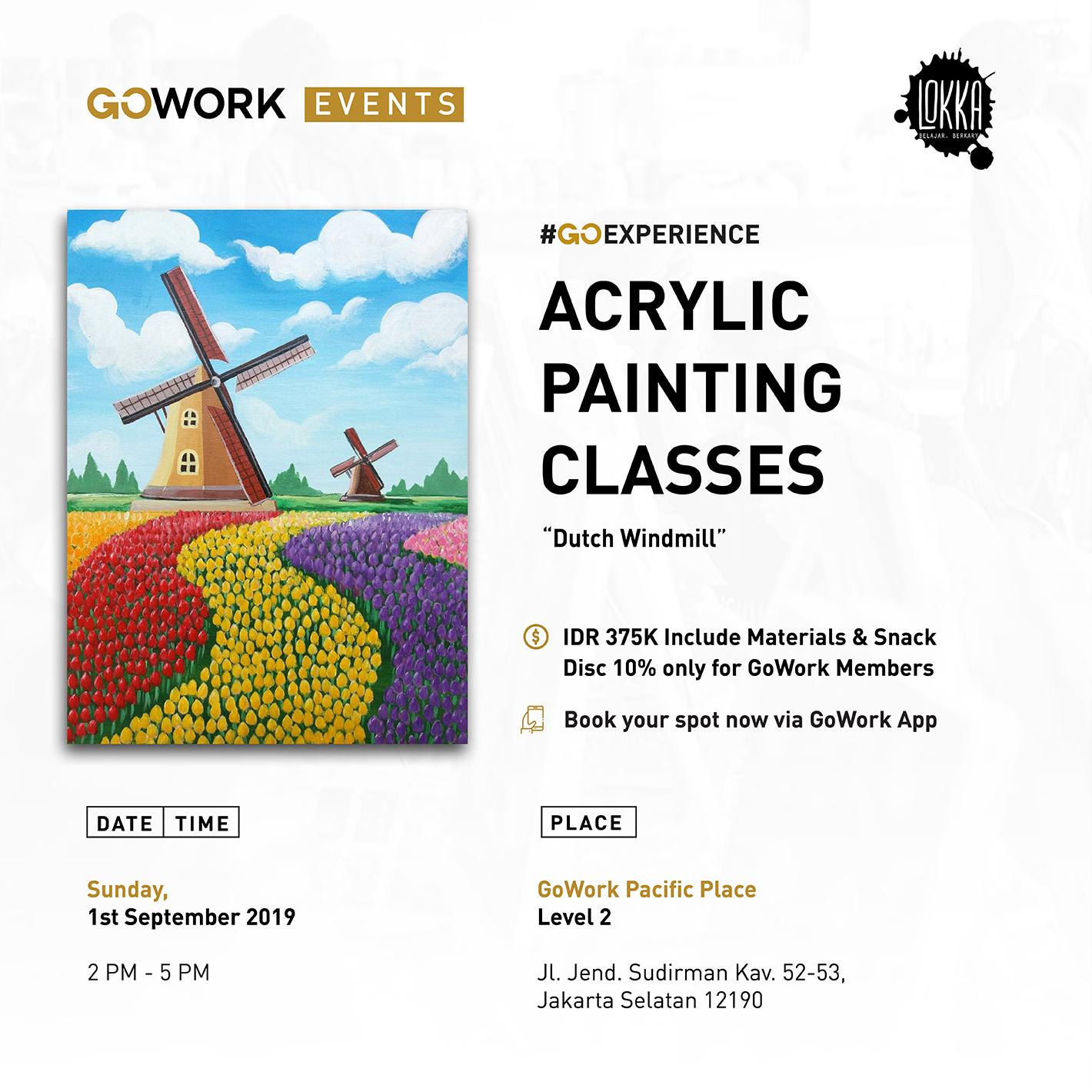 Acrylic Painting Classes : Dutch Windmill