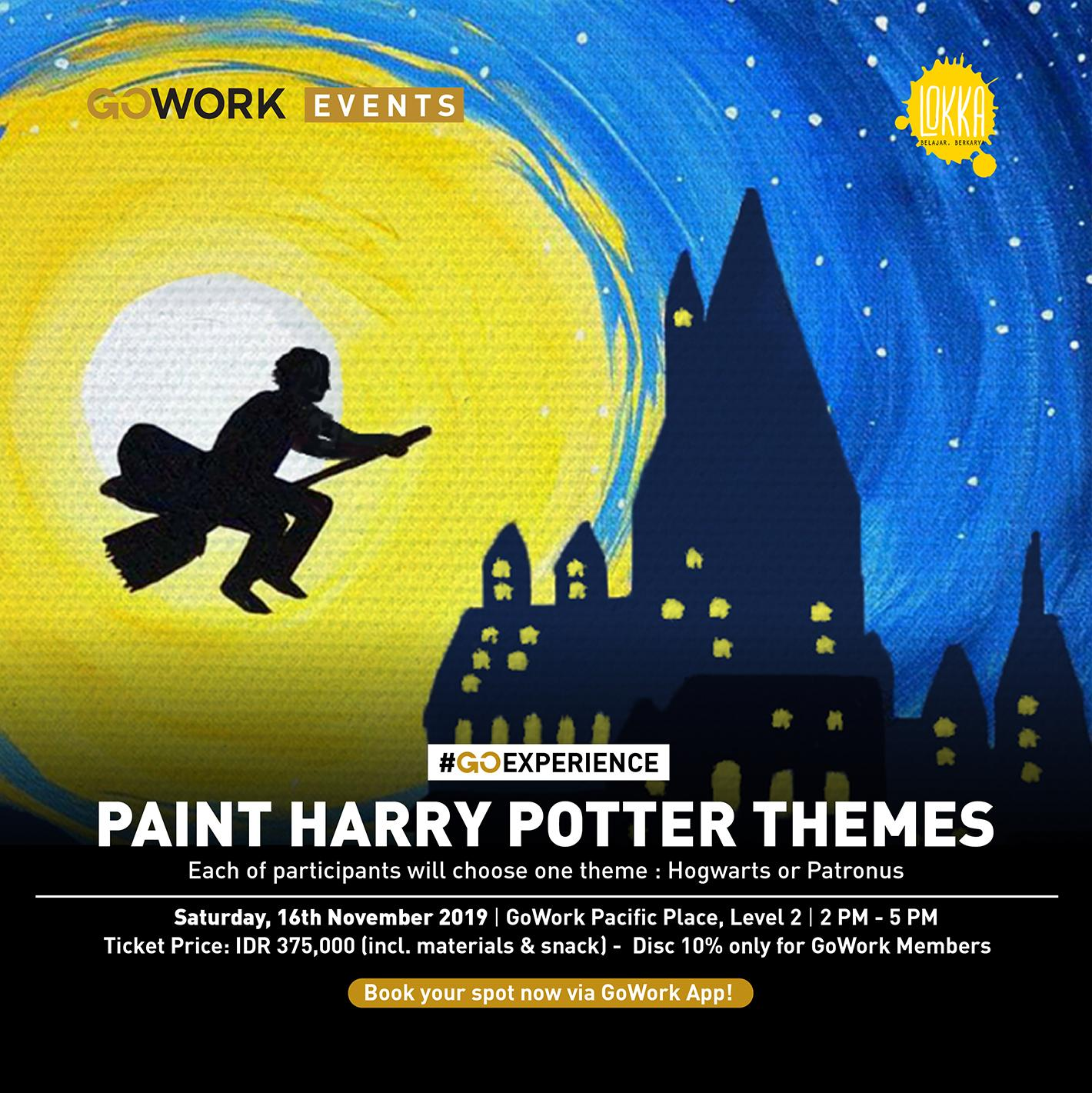 "GoWork X Lokka Studio : Canvas Painting Class ""Paint Harry Potter Themes"""
