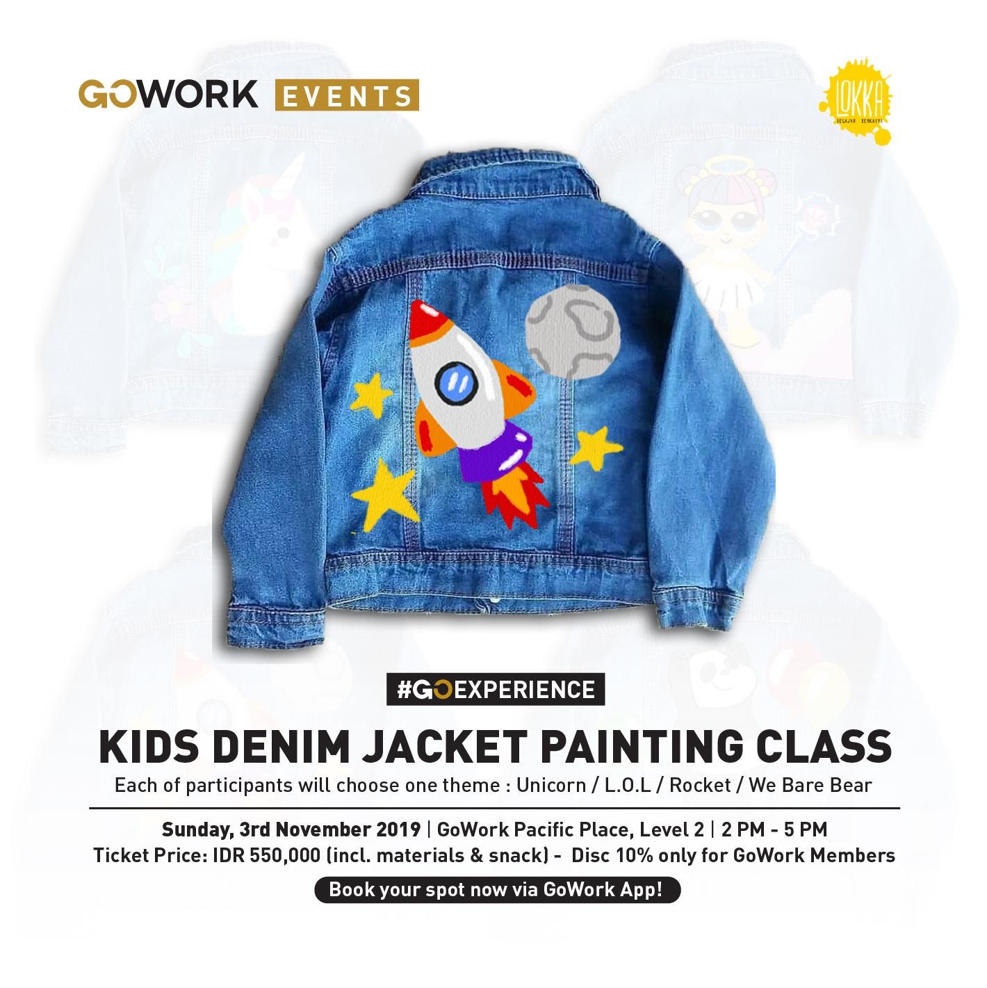GoWork X Lokka Studio : Kids Denim Jacket Painting Class