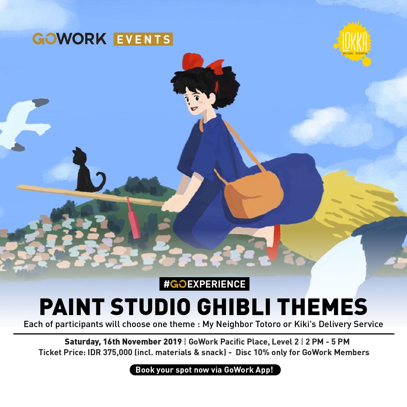 "GoWork X Lokka Studio : Canvas Painting Class ""Paint Studio Ghibli Themes"""