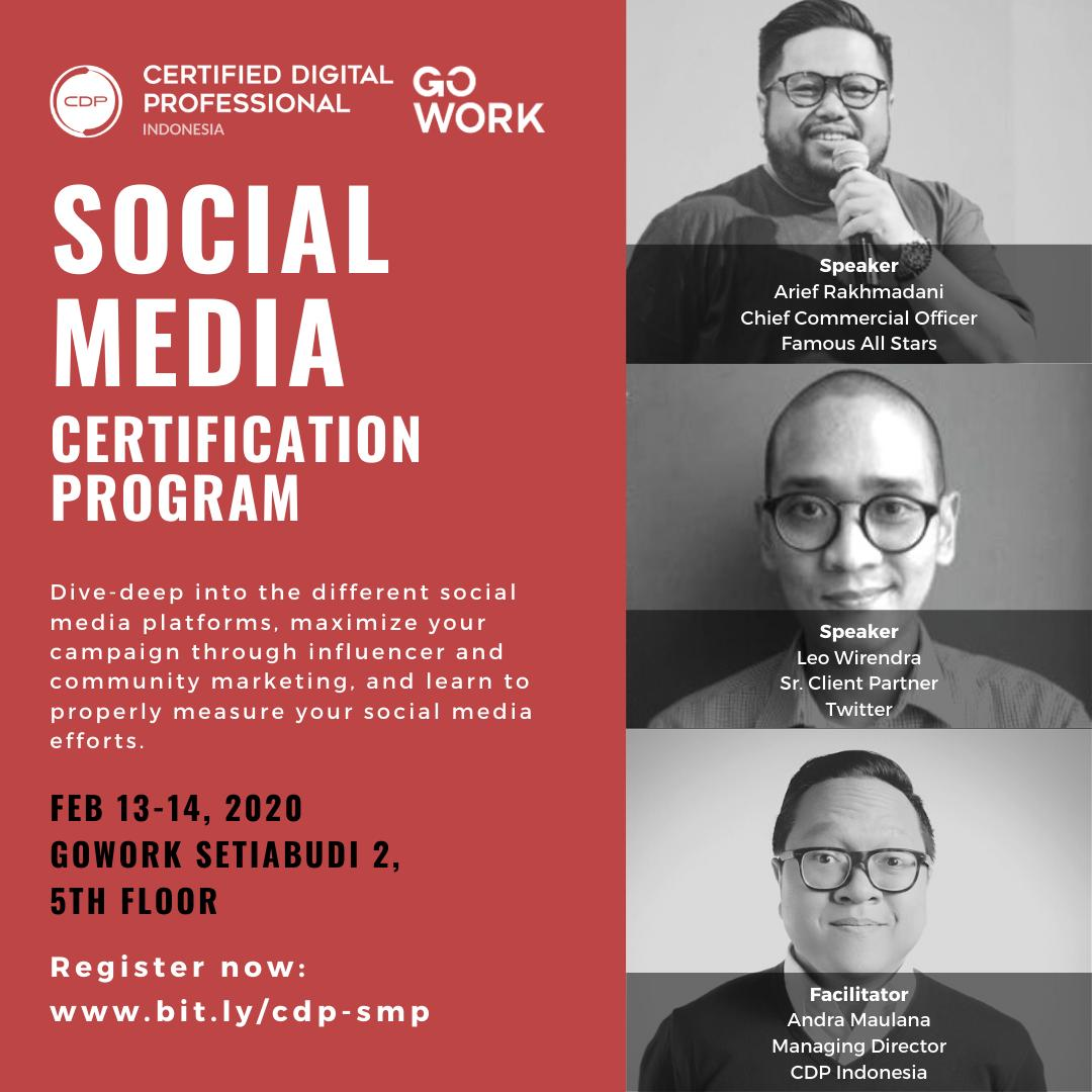 Social Media Certification Program by CDP Indonesia & GoWork