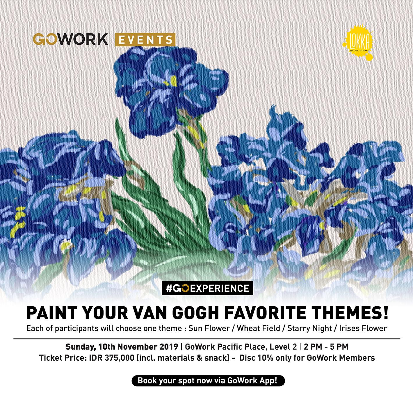 "GoWork X Lokka Studio : ""Paint Your Van Gogh Themes"" Acrylic Painting Class"