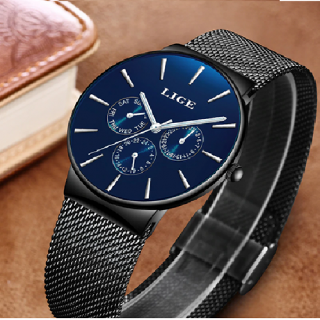 LIGE Fashion Men Watches Male Top Brand Luxury Quartz Watch Men Casual Slim Dress Waterproof Sport WristWatch Relogio Masculino
