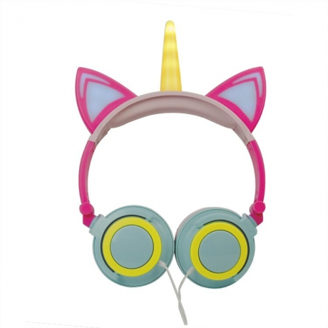 LED Unicornio Girl Gift Children Party Headset Stereo Hand Free Earphone MP3 Smartphone Headphone For Samsung iPhone Xiaomi Plug