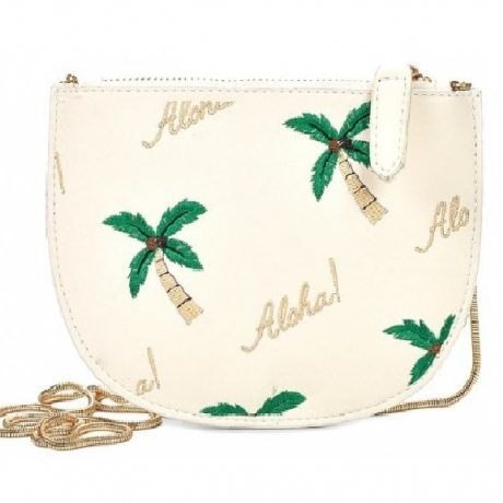 Woman Faddish Embroidery Style Shoulder Bag - White