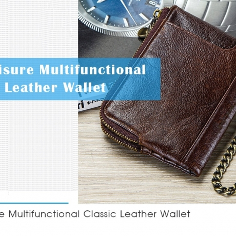 Casual Leather Men Wallet Multi-function Double Zipper Coin Purse - Coffee