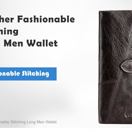 Contacts Leather Fashionable Stitching Long Men Wallet - Puce