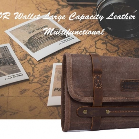 GFAVOR Wallets Large Capacity Leather Material - Coffee