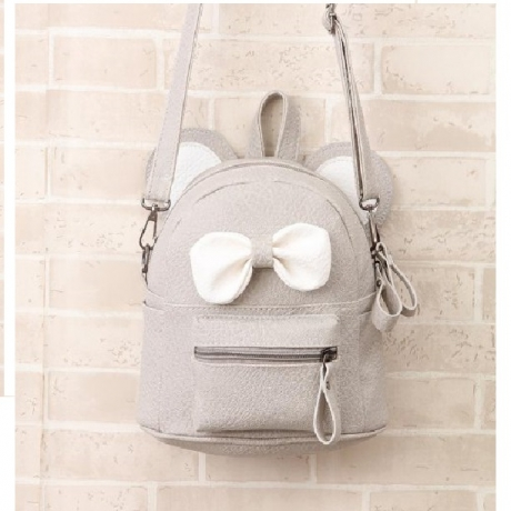 Girl Shoulder Double Schoolbag Children Cute Bow Little Backpack - Gray Cloud
