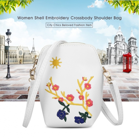 Guapabien Women Shell Embroidery Shoulder Crossbody Bag - White