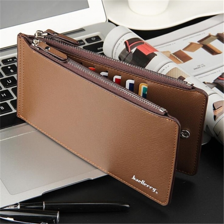 New Men Wallets PU Leather Wallet Cute Purse Clutches Coin Purse Cards Holder Bag for men - Coffee