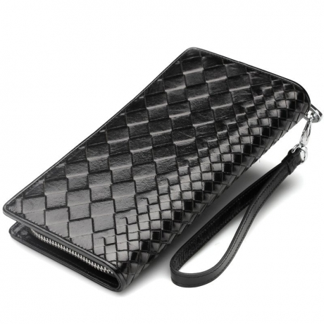 Oil Wax Leather Woven Casual Long Coin Purse - Black