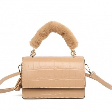 qiqijia - D101 Autumn Winter Fashion Plush Portable Stone Pattern Atmosphere Comfortable Ladies Shoulder Crossbody Bag - Beige