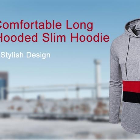 Men Stylish Comfortable Long Sleeve Hooded Slim Hoodie
