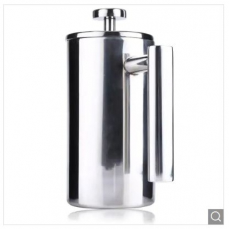 1000ML Stainless Steel Insulated Coffee Tea Maker with Filter Double Wall - Silver
