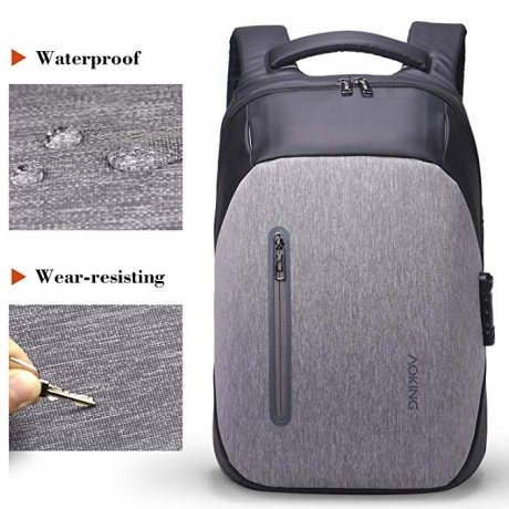 Aoking BN77266 Customs Lock Backpack Anti-theft Male Waterproof - Light Gray