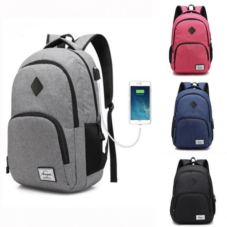AUGUR Men Women Backpacks USB Charging Male Casual Travel Teenager Student School Notebook Laptop Bag