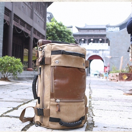 KAKA0208 Outdoor Travel Antique Style Large Capacity Chic Canvas Backpack