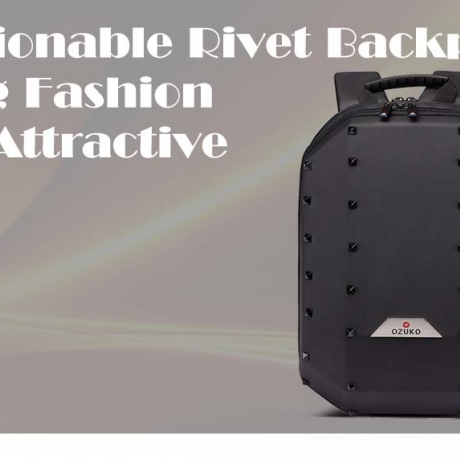 ozuko Fashionable Outdoor Rivet Decoration Casual Backpack - Fall Leaf Brown