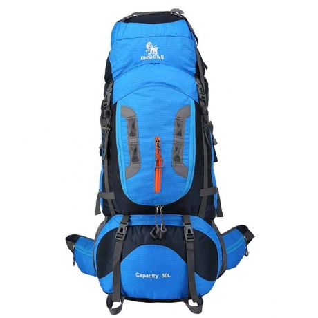 WEIKANI 80L Unisex Waterproof Nylon Backpack for Outdoor Sports