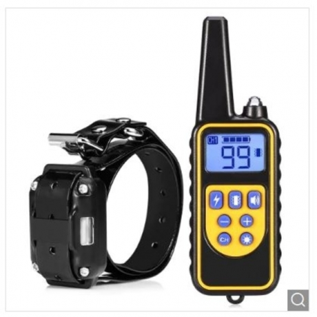 880 800m Waterproof Rechargeable Remote Control Dog Electric Training Collar - Black UK Plug