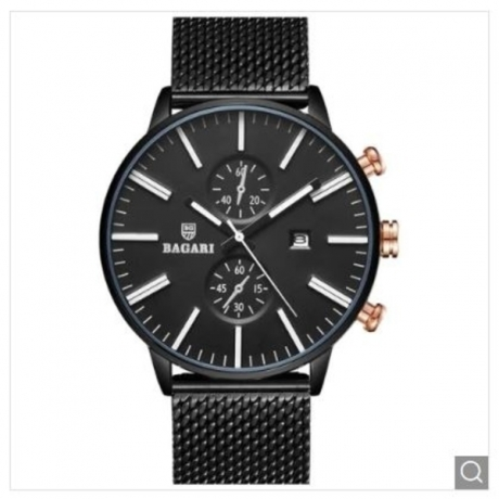 BAGARI 1809A Simple Men Watch - Multi-A Gray Dial Black Case Black Band