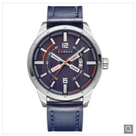 Big Dial Men Casual Sports Calendar Watch - Marble Blue