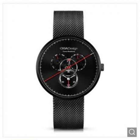 CIGA Design Creative Fashionable Leather Strap Men Waterproof Quartz Watch - Black