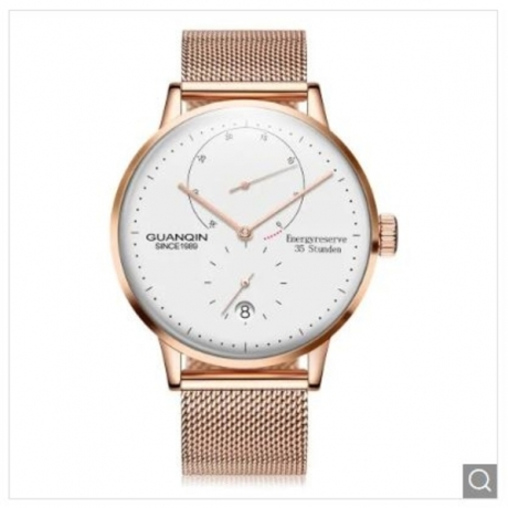 GUANQIN Men Steel Net Band Automatic Mechanical Watch - Rose Gold and White