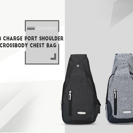Guapabien USB Charge Port Crossbody Shoulder Chest Bag - Gray