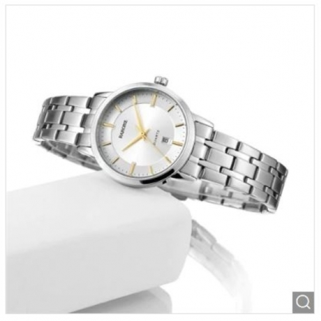 High Quality Sapphire Gold Quartz Lady Wrist Watch - White 1pc