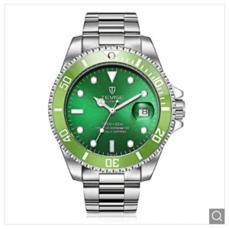 Hot TEVISE T801A Stainless Steel Strap Men Mechanical Watch with Date Function - Green One Size