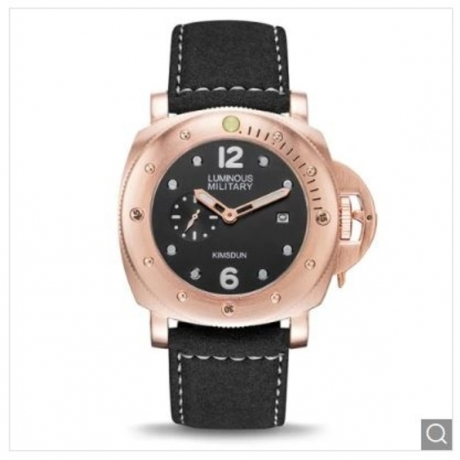 KIMSDUN K-926D Men's Waterproof Luminous Sports Automatic Mechanical Strap Watch - Black ROSE GOLD CASE