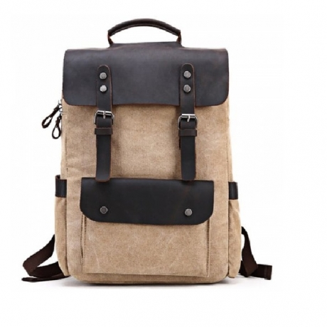 LOUIS JASON Leisure Neutral College Wind Canvas Backpack