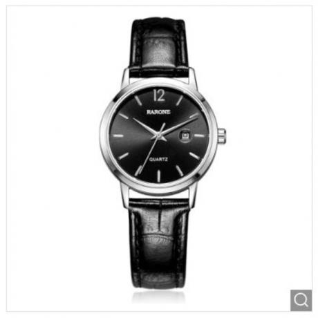 Luxury Genuine Leather Quartz Wrist Watch for Lady - Black 1pc