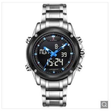 Naviforce Multifunctional Analog Digital Man Watch - Silver and Blue