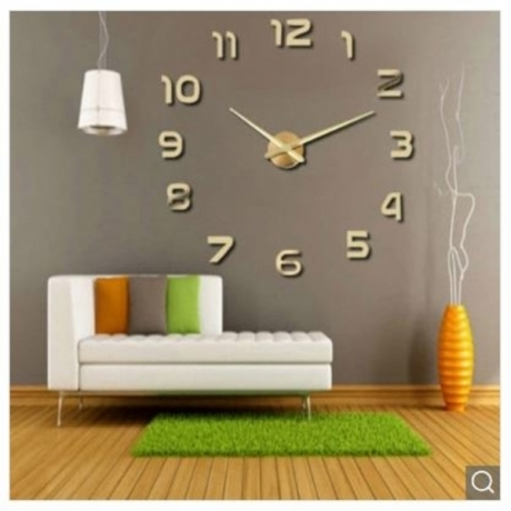 Personalized Big Wall Clock Acrylic Mirror Modern Home Decoration - Golden brown