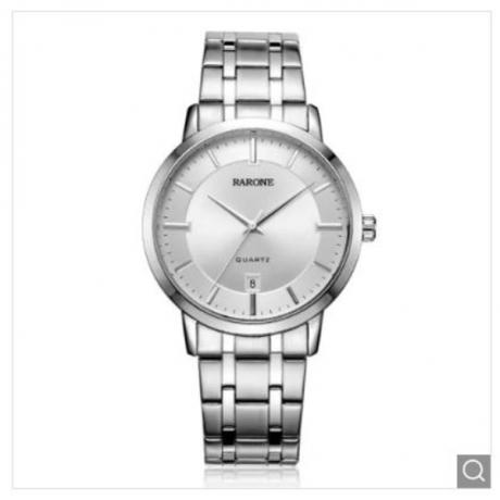 RARONE 3ATM Stainless Steel Man Quartz Wrist Watch - Silver 1pc