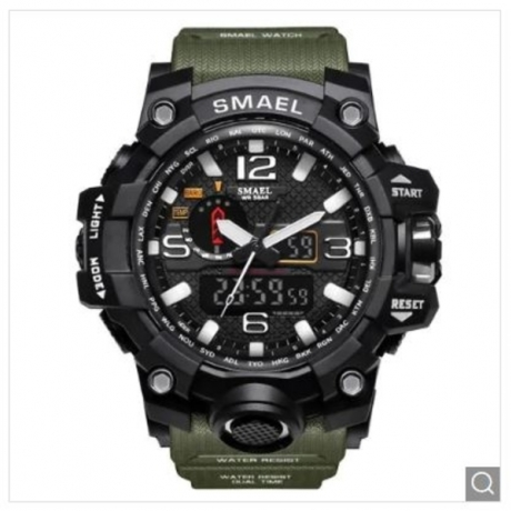 SMAEL Military 50m Waterproof Wristwatch LED Quartz Clock Sport Men Watch - Army Green