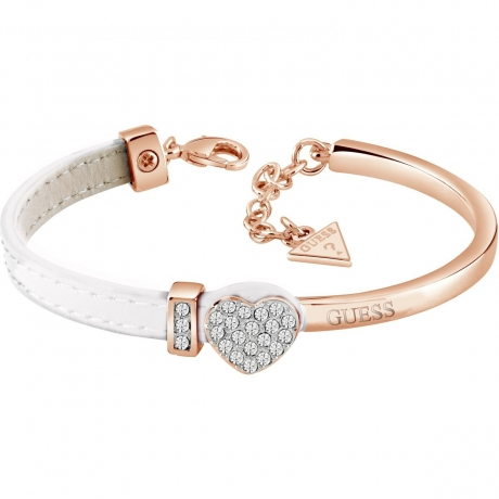 GUESS rose gold plated bangle with half white leather Swarovski® crystal set heart bracelet with GUESS detail, presented in a gift box.